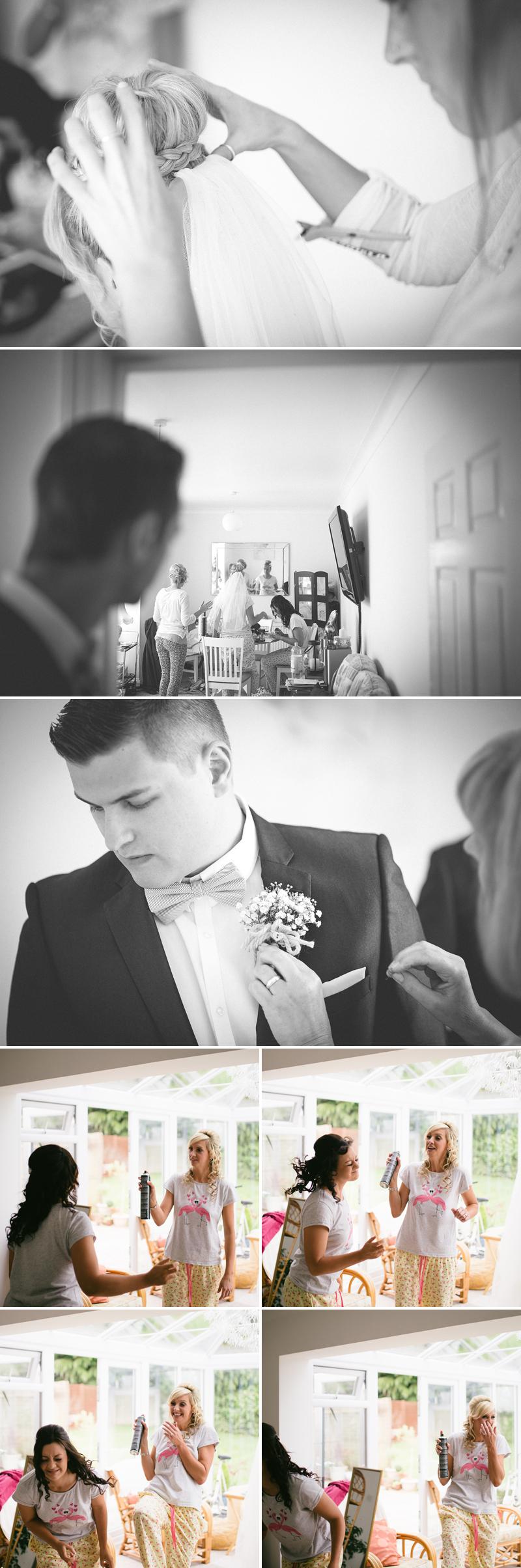 pinning in the wedding veil