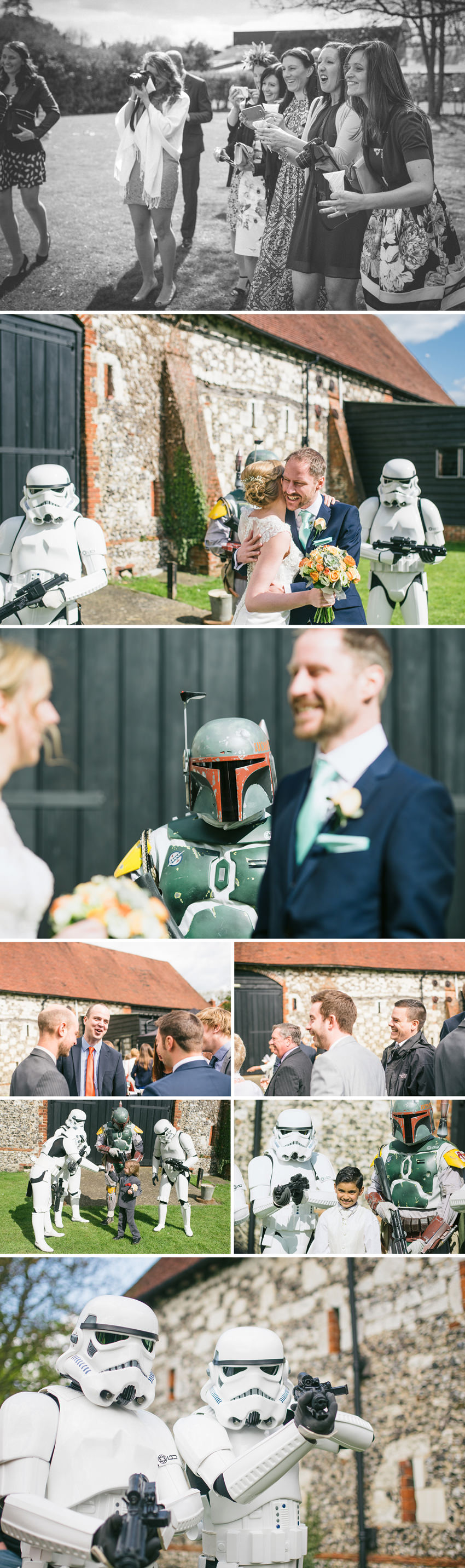 boba fett looks at bride and groom
