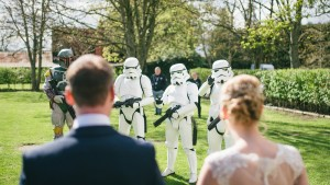 storm troopers arrive at a wedding in Berkshire
