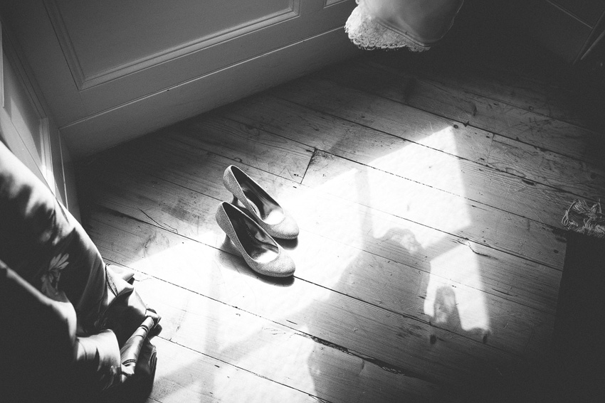 the wedding shoes waiting for the bride