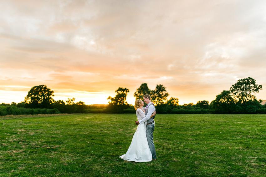 couple photos at sunset wedding