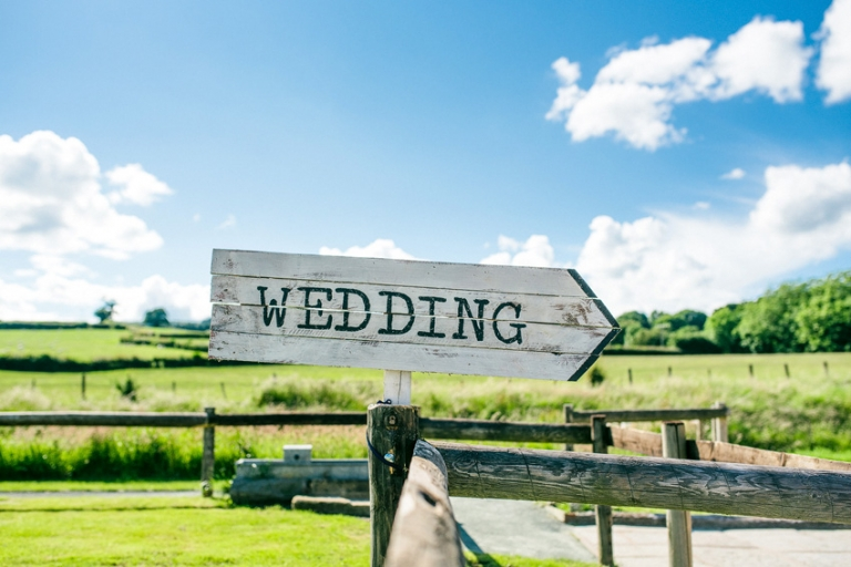 wedding sign for tower hill barns