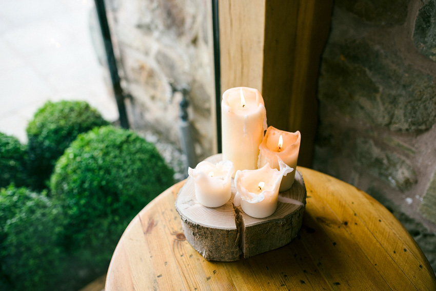 candles on display at wedding venue