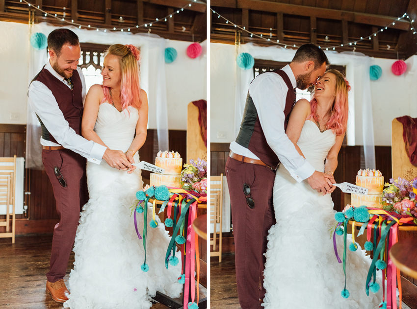 cutting the cake and loving it