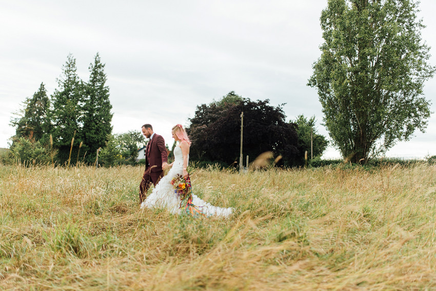 walking through wild meadow