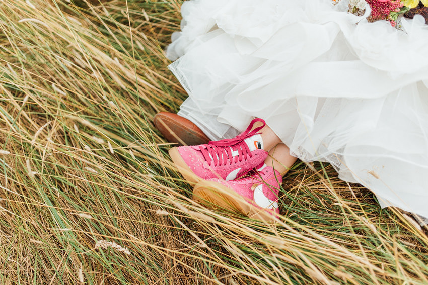 pink nike shoes for the bride