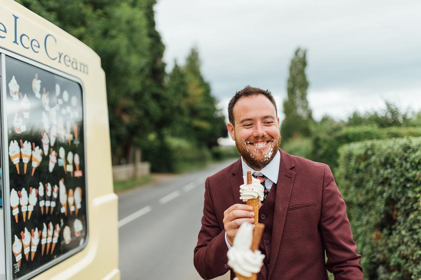groom loving his ice cream