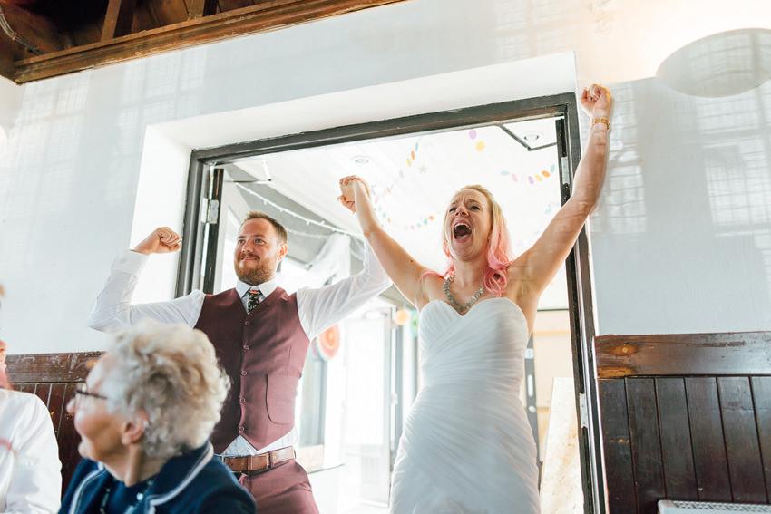 super happy bride and groom