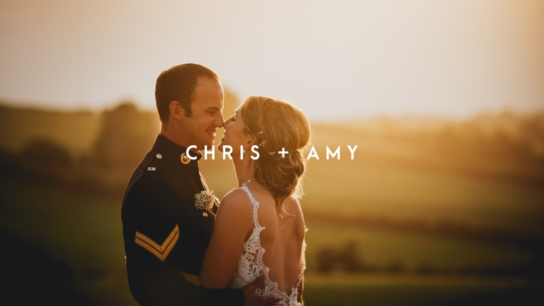 Bride and groom in the sunset at Lyde Court photo