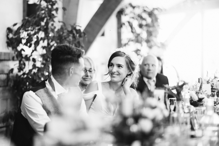 brides reaction during the speeches
