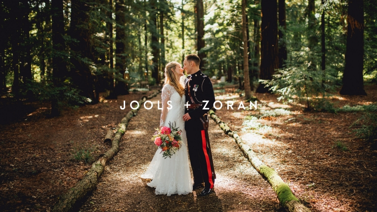 bride and groom in redwoods at two woods estate